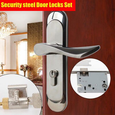 Privacy Door Security Entry Lever Mortise 304 Stainless Steel Handle Locks Set