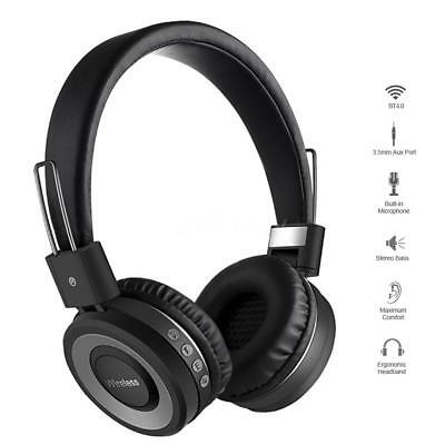 3.5Mm Aux-In Stereo Music Headphone Wireless Bluteooth On Ear Sports Headset