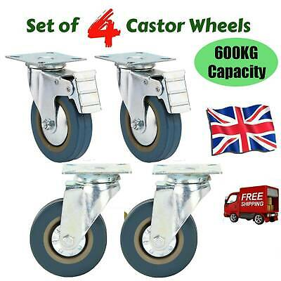 Set of 4 Heavy Duty 100mm Rubber Swivel Castor Wheels Caster Brake 600KG UK