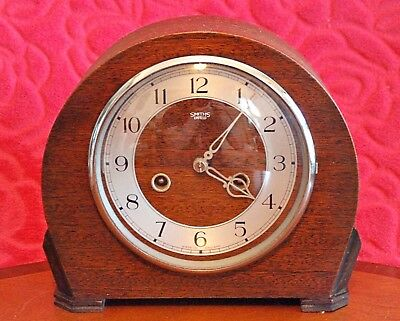 Vintage Art Deco 'Smiths Enfield' 14-Day Striking Mantel Clock