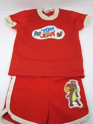 Vintage 1977 Tom And Jerry Children's Clothing Set Shirt And Shorts Dawnelle