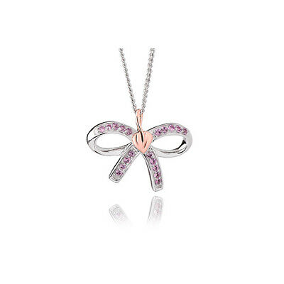 NEW Clogau Silver & Rose Gold Tree of Life Bow Pink Sapphire Pendant £100 off!