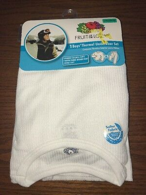 NWT ✿ Fruit Of The Loom Boy's Large 10-12 Thermal Underwear Set White