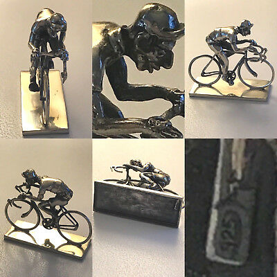 Vintage Sterling Silver Cyclist Bicycle Cycling Miniature Figure Paperweight