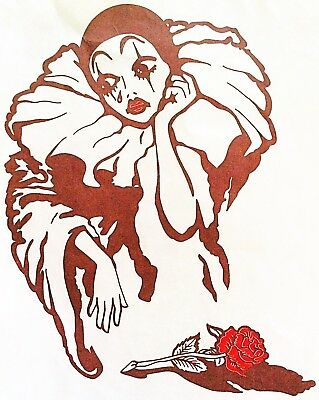 Original Crying Clown with Red Rose HOT PEEL Iron On Transfer