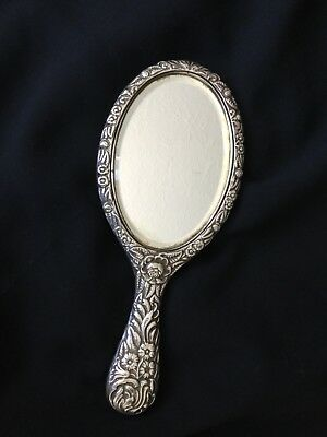 1900 Sterling Silver Beautiful Hand Mirror Hallmarked George Nathan & Hayes
