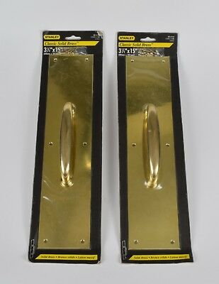 """Pair of Stanley Classic solid brass door pull plates 3 1/2"""" x 15"""""""