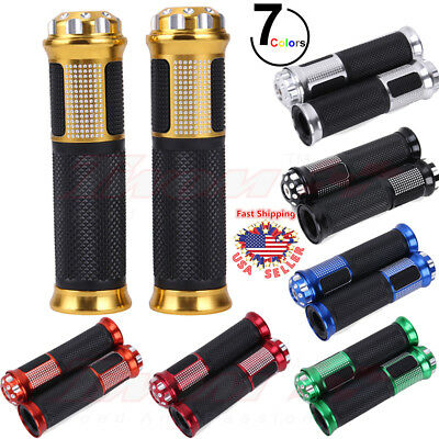 "Universal Hand Grips Motorcycle 7/8"" Handlebar Grips Hand Gel End CNC Cap Colors"