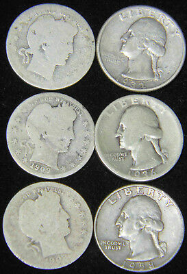 1902 - 1958 Barber & Washington Silver Quarters Lot of 6 coins #530T