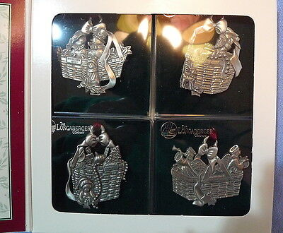 Longaberger Pewter Christmas Basket Ornaments Set Of 4  New In Box