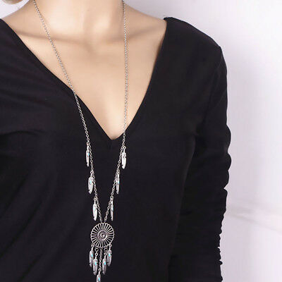 Women Feather Tassel Dream Catcher Jewelry Pendant Gift Chain Necklace