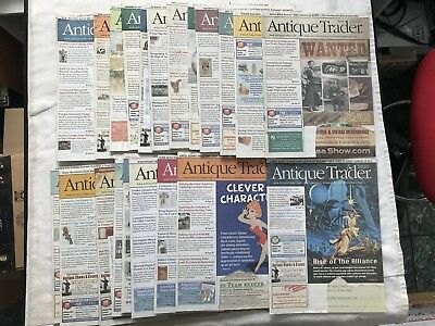 Lot of 22 Antique Trader Newsletters. 2014, 2015