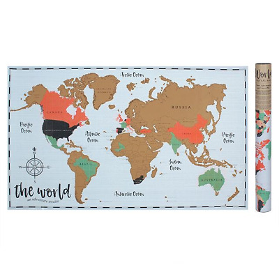 Scratchable Map of the World / Scratch Travel Travelling Adventure Gift Present