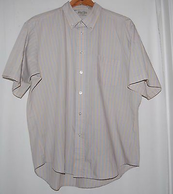 Vintage Mens Store JcPenney Shirt SS Button XL 17 17.5 Light Blue Sold Stripe