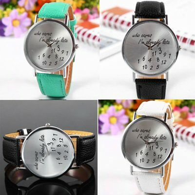 Fashion Girl's Boy's Funny Comment Wrist  Watches: Who Cares I'm Already Late