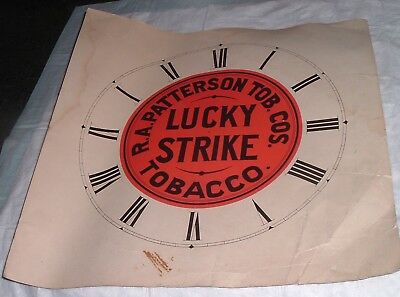 Vintage LUCKY STRIKE Tobacco Printed Clock face RA Patterson -never assembled