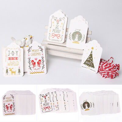50pcs Merry Christmas Kraft Paper Tags Gift Marker Gift Labels With String New