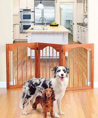 Wooden Folding Stand Alone Pet Dog Gate Wood Adjustable Free Standing Pet Gate