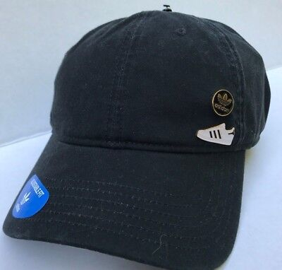 ADIDAS BLACK SUPERSTAR Relaxed Pin Pack Strapback Hat Cap OSFM NWT ... 22be6cfa577