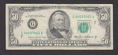 1985 $50 Bill District G7 Chicago Old Style Us Fifty Federal Reserve