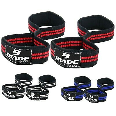 Weight Lifting Wrist Straps Figure eight 8 Padded Cuff Gym Deadlift Double Loop