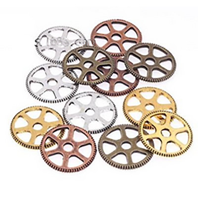 12x Fashionable Alloy Vintage Mixed Style Gear Pendants for Necklaces DIY Parts