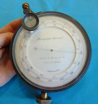 "Large Surveying Aneroid Barometer 5"" 1880 James W. Queen & Co"