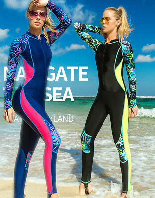 Women One Piece Swimsuit Full Body Rash Guard Long Sleeve Dive Skin Swimwear