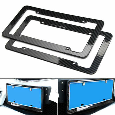 2x 4 Hole Carbon Fiber License Plate Frame Tag Cover with Free Caps for Dodge