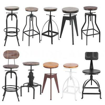 Industrial Metal Wood Bar Stool Dining Chair Height Adjustable Optional C9B7