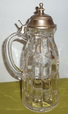 c1880's htf EAPG Dalzell's PRISCILLA SYRUP JUG - ORIGINAL MINT TOP-FINDLAY, OHIO