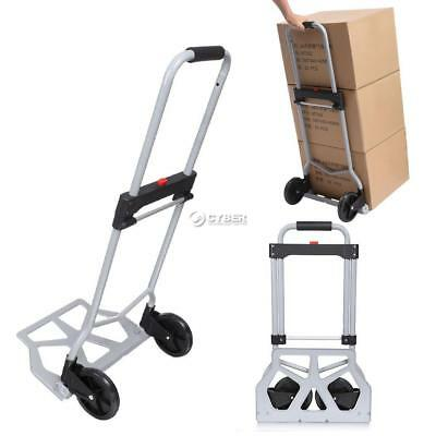 220lbs Fold Shopping  Load Cart Luggage Trolley Hand Truck Dolly Wheel Silver.