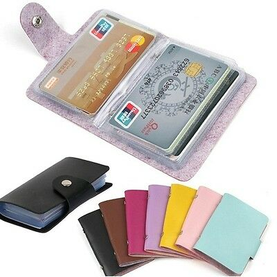 Men Women 24Cards ID Credit Card Holder PU Leather Pocket Case Purse Wallet New