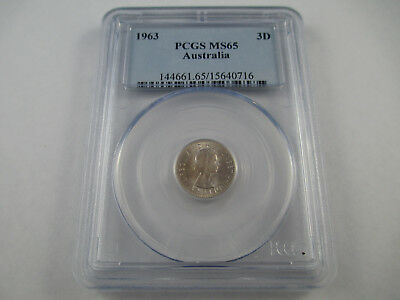 1963 Australia Three Pence Coin Pcgs Ms65 Graded .