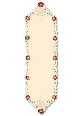 """Noel Glow Decorative Embroidered Floral Christmas Table Runner 15"""" x 52"""""""