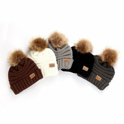 Female Ball Cap Pom Poms Hat Women Knitted Beanies Cap Thick Soft Warm Hat M2