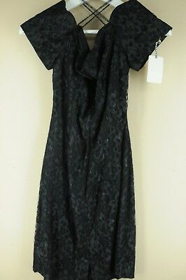 Vintage Roberta Women's Black Floral Polyester 80's Dress Small Medium s/M
