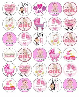 """30 BABY SHOWER GIRL 1.5"""" ROUND (35mm) EDIBLE WAFER PAPER CUPCAKE TOPPERS #1"""