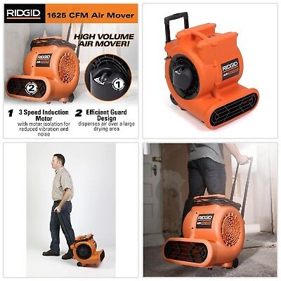 Air Mover Portable Fan 1625 CFM High-Volume Air Mover Floor Carpet Dryer Blower