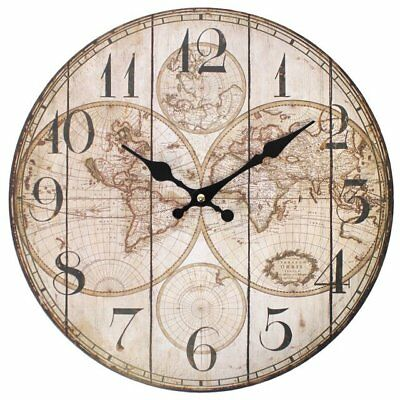 Wall Clock Shabby Chic Retro Aged Old Style Vintage Map Clock