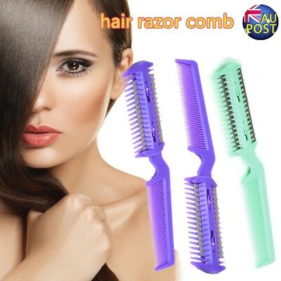 Changeable Blades Hairdressing Double Sided Hair Styling Razor Thinning Comb AU