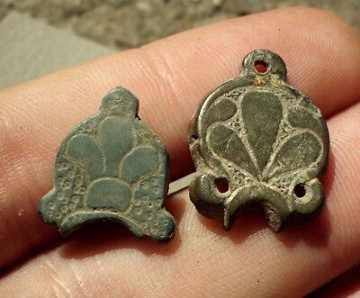 Pair Of Ancient Celtic Druids Bronze Decorations Amulets - 100 Bc - Rare -