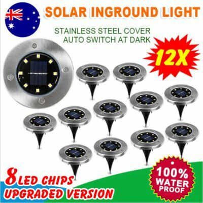 4/12x Solar Powered LED Buried Inground Recessed Light Garden Outdoor Deck Path