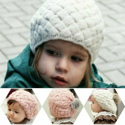 2018 Cute Baby Kids Winter Warm Hat Knit Crochet Pom Pom Beret Children Girl Cap