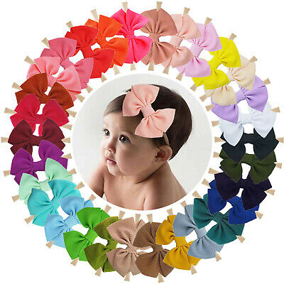 20pcs 4 Inch Grosgrain Ribbon Hair Bows Headbands for Baby Girl Infants Toddlers