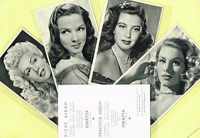 KWATTA - 1940s/1950s Film Star Postcard Size Cards produced in Belgium {STYLE 1}