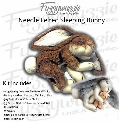 Needle felted Sleeping Bunny Kit Natural Brown