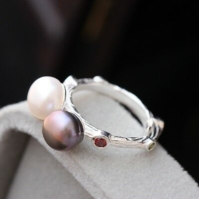 Silver Ring Handmade Inlaid Natural Pearls Design Adjustable Exquisite Jewelry