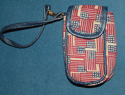 "Longaberger Homestead Old Glory Cigarette or Cell Phone Case 3.25"" W X 5"" H EUC"