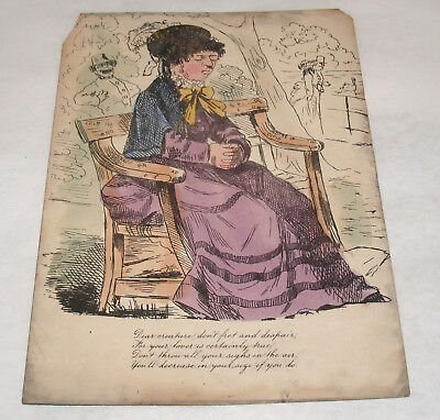 Antique Mean Valentine Hand Colored Lithograph Poem Victorian Love Token